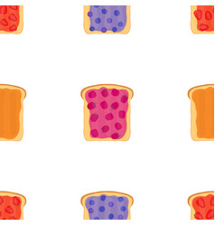 jam on toasts toast with jelly seamless pattern vector image vector image
