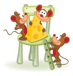 mouse with cheese on a chair vector image vector image