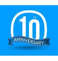 10 Anniversary numbers with ribbon Flat origami vector