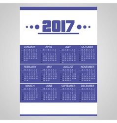 2017 simple business blue wall calendar with white vector image vector image