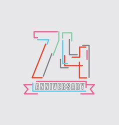 74th years anniversary logo birthday celebration vector