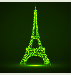 Abstract eiffel tower of glowing particles vector