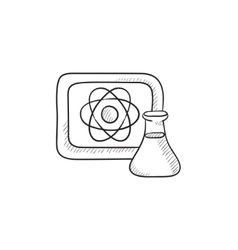 Atom sign drawn on board and flask sketch icon vector image