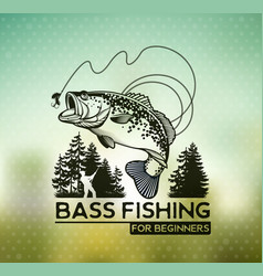 Bass fishing emblem on blur background vector