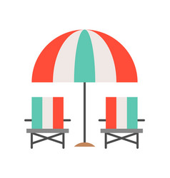 Beach chair and umbrella summer related flat icon vector