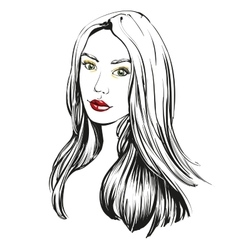 beautiful woman face hand drawn llustration vector image