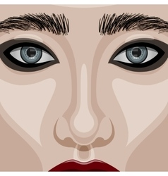 Beauty Woman Face with big blue Eyes vector