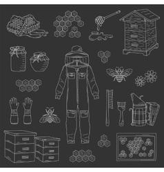 Beekeeping equipment collection vector image