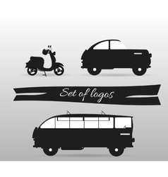 Black and white logos land transport motor vector