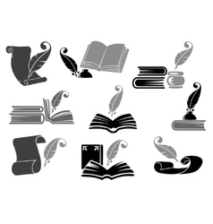 Books with feather icon set vector