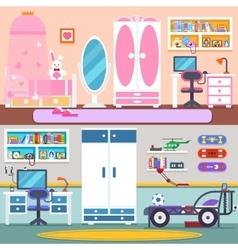 Boy girl room bed and workspace vector image