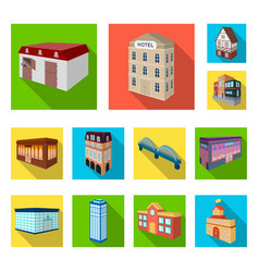 building and architecture flat icons in set vector image
