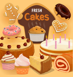 Cakes and cupcakes pastry sweet desserts vector