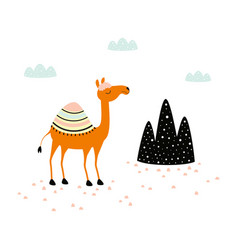 Card with cute camel on white vector