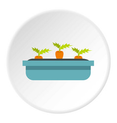 Carrots in a wooden pot icon circle vector