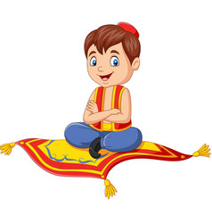 cartoon aladdin travelling on flying carpet vector image