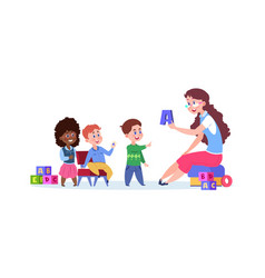 cartoon kids playing children learn read through vector image