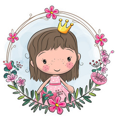 cartoon princess in a flowers frame vector image