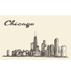 Chicago skyline city architecture drawn vector