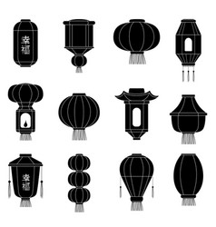 chinese lantern silhouetes japanes asian paper vector image