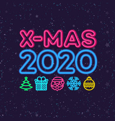 Christmas greeting card neon style vector