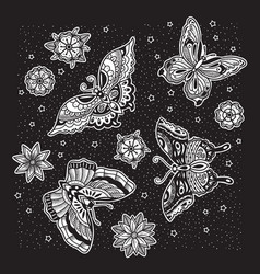 collection ink butterfly and flower tattoo in vector image