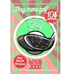 Color vintage golf poster vector