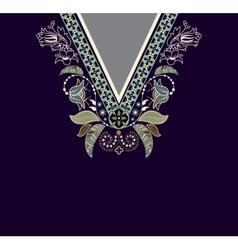 Colorful ethnic flowers neck Paisley decorative vector