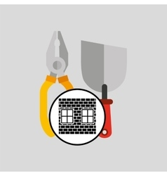 construction brick tools work graphic vector image