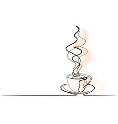 continuous line drawing cup coffee vector image