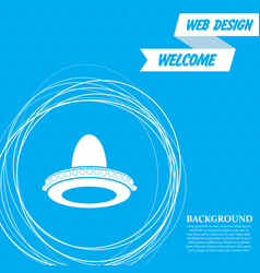 cowboy hat icon on a blue background with vector image