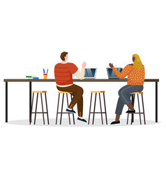 Coworkers greet each other people work on laptops vector