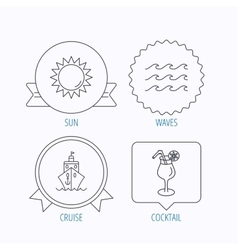 Cruise waves and cocktail icons vector