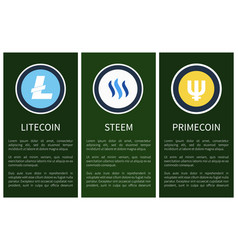cryptocurrency icons on vertical promo posters set vector image