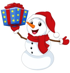 Cute cartoon snowman with gift vector image