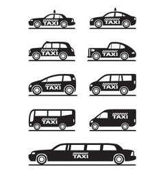 Different types of taxi cars vector