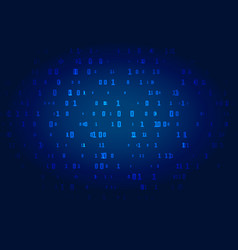 digital blue technology background with binary vector image