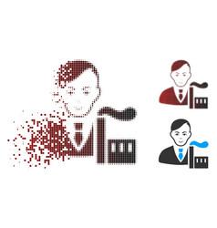 Disintegrating pixel halftone capitalist oligarch vector