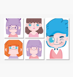 emojis kawaii cartoon faces kids making different vector image