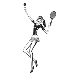 Female tennis player vector