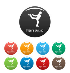 figure skating icons set color vector image