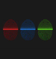 fingerprint scan icons vector image