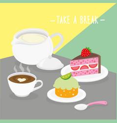 food meal take a break dairy eat drink menu vector image