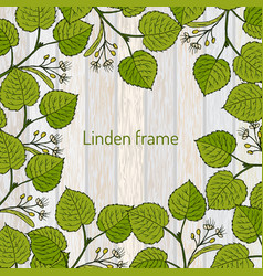 frame with linden branches template vector image
