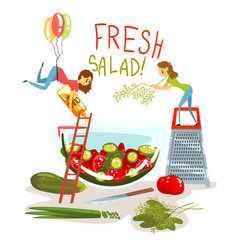 fresh salad little women cooking green salad vector image