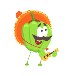 Funny cartoon green pepper character wearing vector