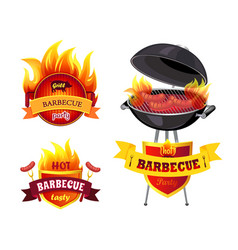 Grill bbq barbecue party set vector