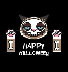grumpy cat in skeleton costume happy halloween vector image