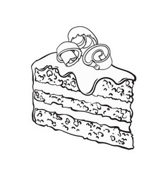 hand drawn piece of layered chocolate cake with vector image