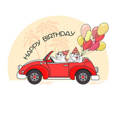 Happy birthday greeting card with two bears in ca vector